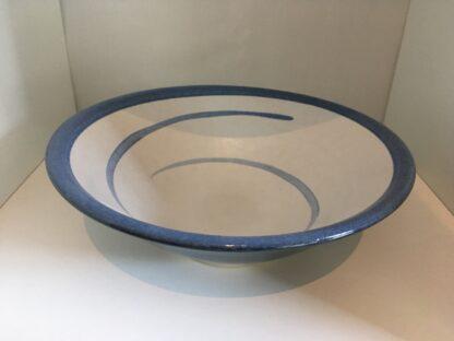 Flache Schale in gerader Form, blau/creme
